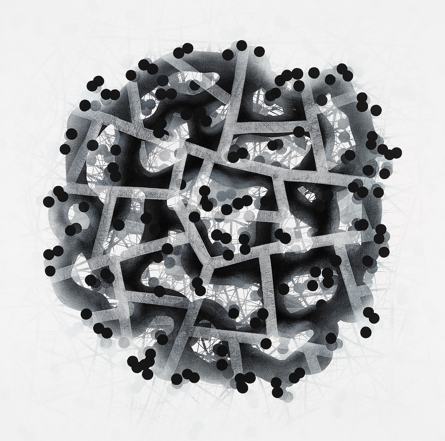 Michelle Concepción, Black & White Clusters 2, acrylic on canvas, 150 x 150 cm, 2016