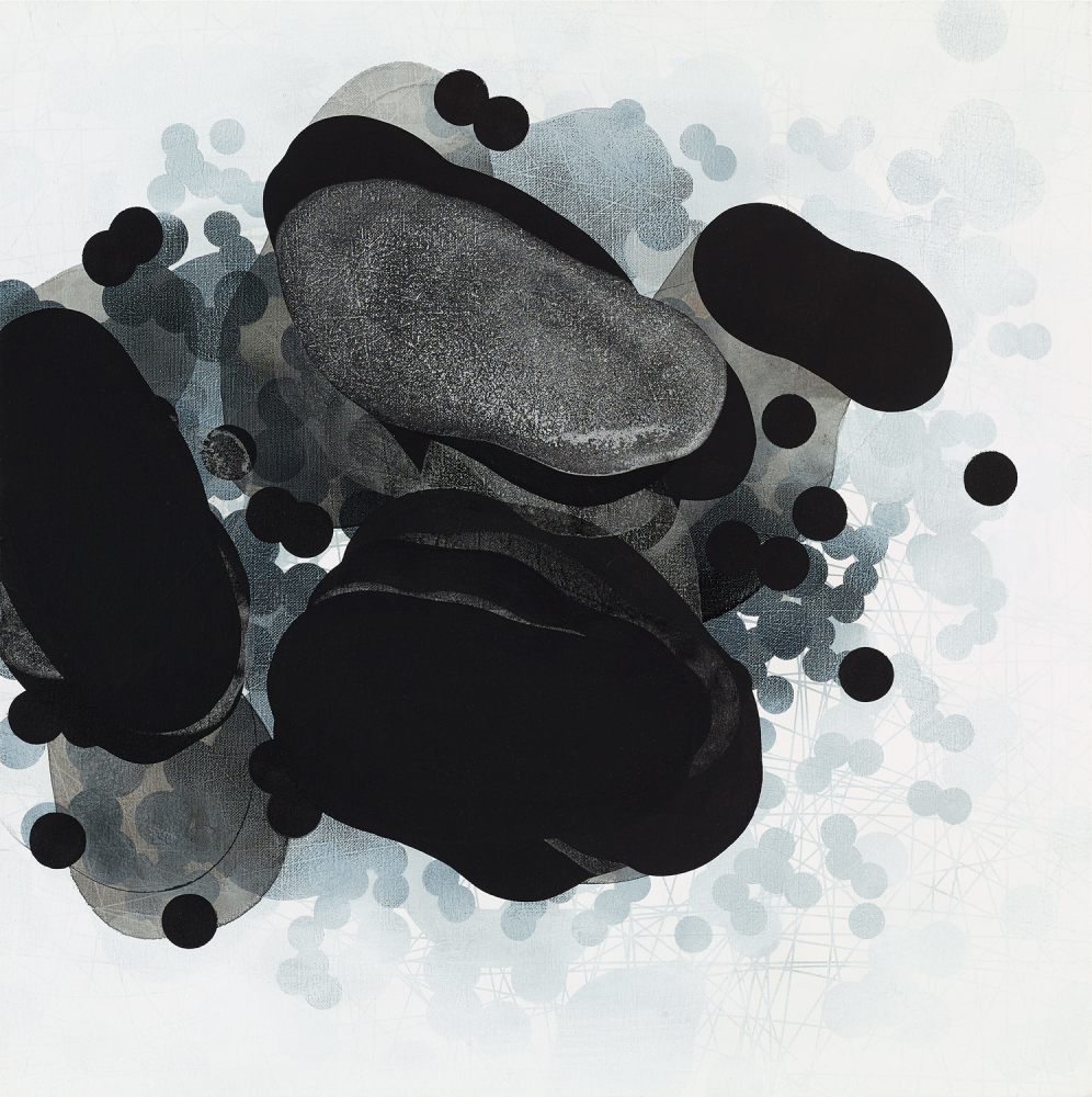 Michelle Concepción, Black & White Clusters 3, acrylic on canvas, 60 x 60 cm, 2016