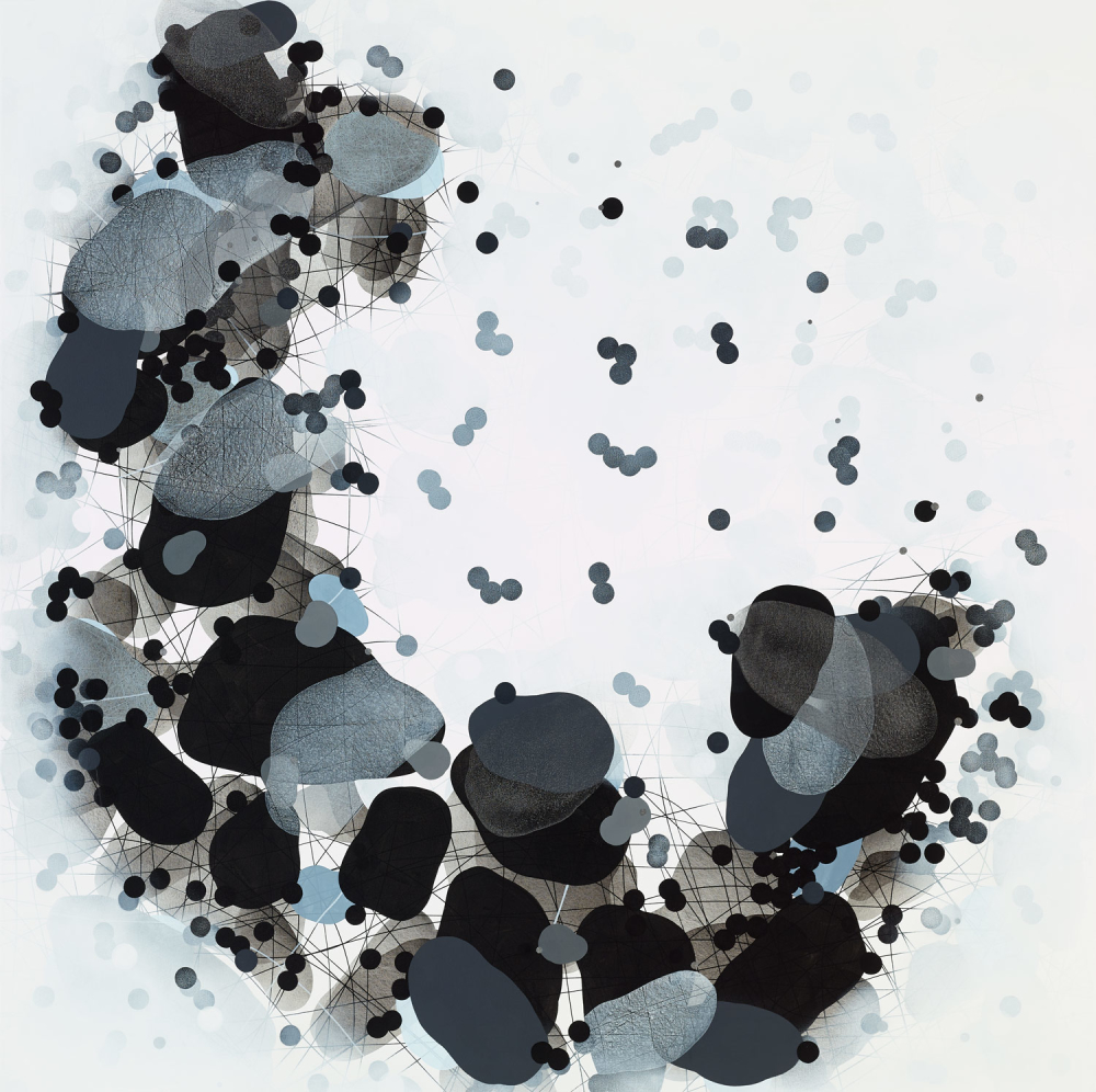 Michelle Concepción, Black & White Clusters 1, acrylic on canvas, 150 x 150 cm, 2016